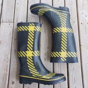 Kate Spade plaid rubber rain boots